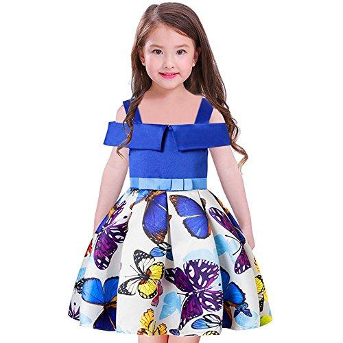 Wgwioo Children dress Chicas Vestidos Mariposa niños Fiesta Bowknot Princesa Falda. 100-160 Blue 150