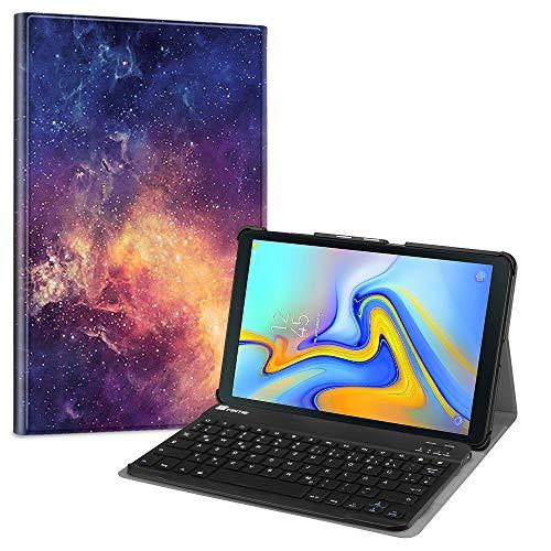 Fintie Bluetooth Tastatur Hülle für Samsung Galaxy Tab A 10.5 SM-T590/T595 Tablet-PC - Ultradünn leicht Schutzhülle mit magnetisch Abnehmbarer drahtloser Deutscher Bluetooth Tastatur, Die Galaxie