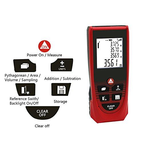 Rebzar A-40 (0.02 m to 40m) Digital Laser Distance Meter - Precise Laser Tape Measurer for Construction Calculation of Length/Area/Volume