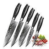 XINZUO 5er Damastmesser Set küchenmesser 67 Schichten Damaststahl Kochmesser Messerset mit Pakkawood Griff - Ya Serie