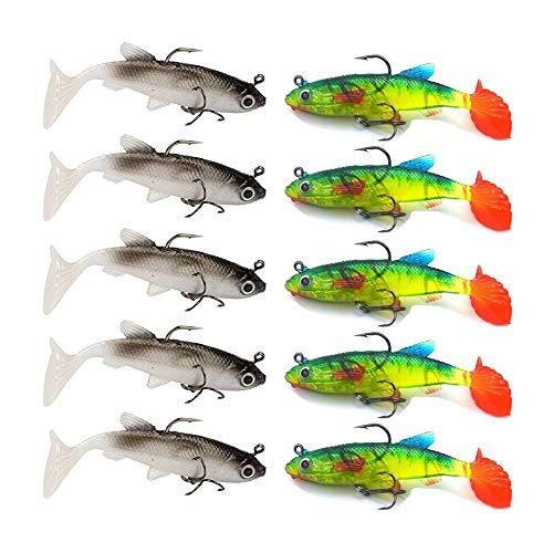 HPiano 10 pz/Lotto Richiamo Morbido 8cm 12,5 g Esche Artificiali Esche da Pesca Branzino Pesca alla Carpa Pesce Jig, Wobblers per la Pesca di Pesci Predatori Come salmerino, Pesce persico, Trota