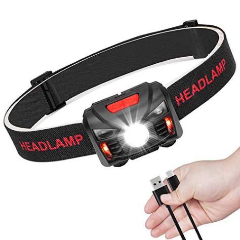 LED Stirnlampe Kopflampe USB Wiederaufladbare Mini stirnlampen Wasserdicht Leichtgewichts Perfekt fürs Laufen,Joggen, Angeln, Campen, für Kinder und mehr