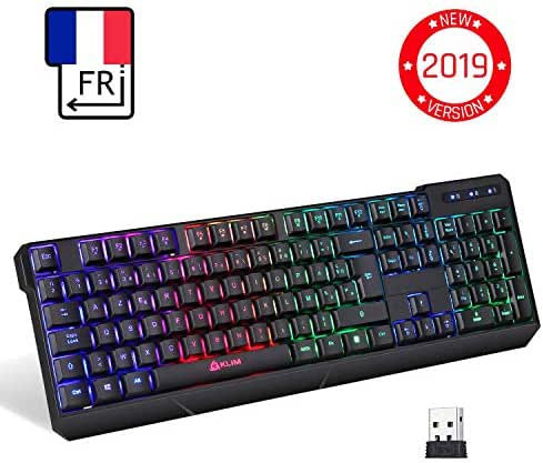 ⭐️KLIM™ Chroma Tastatur Gamer AZERTY Wireless – Hohe Leistung – bunte Beleuchtung RGB PC Windows, Mac PS4 [ Neue 2019 Version ]