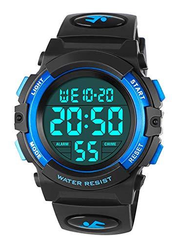 Relojes Infantiles para niños, Reloj Deportivo Digital al Aire Libre a Prueba de Agua con Alarma/Cronómetro, Relojes de Pulsera Digitales Infantiles para niños Cumpleaños Azul RSVOM