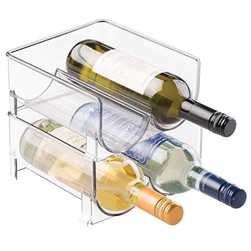 mDesign Portabottiglie Vino Impilabile per Mobile Cucina, Ripiani - Contiene 4 Bottiglie,...