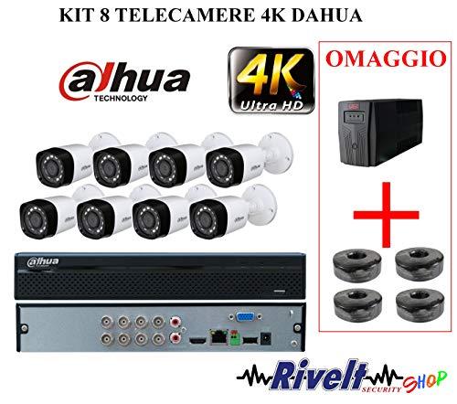 KIT DAHUA 8 TELECAMERE 4 MP, XVR 8 CANALI 5 MP UPS 600 VA E 4 MATASSE DI CAVO RG59 OMAGGIO