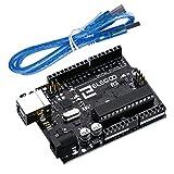 ELEGOO R3 Carte ATmega328P ATMEGA16U2 Controller Board Microcontrôleur avec Câble USB Bleu