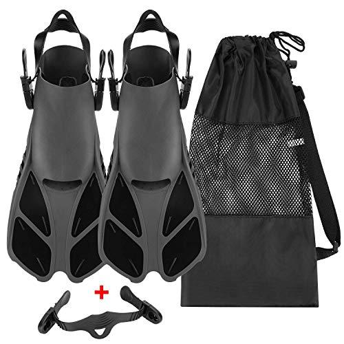 Qkurt Pinne da Snorkeling, Pinne Regolabili con Borsa Mesh e Cinghie Extra per Immersioni, apnea, Snorkeling e Nuoto