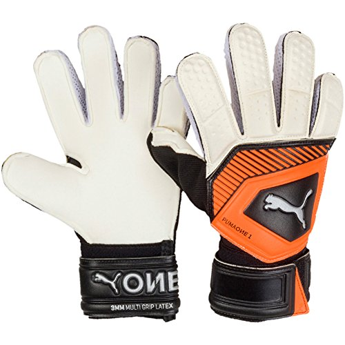 Puma One Grip 1RC Junior Guanti da Portiere, Unisex, 41474, White/Shocking Orange/Black/Silver, 4