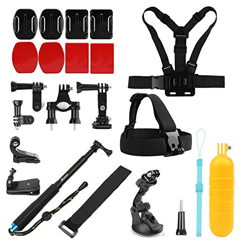 SHOOT 23-in-1 Accessori Kit Tutti in un Unico Outdoor Sport kit per GoPro Hero 7 Nero Argento Bianca/6/5/4/3+/3/HERO(2018)/Fusion DBPOWER Apeman Campark WiMiUS YI CAMKONG Testa Toracica + Floating Bar + J-Hook + Ventosa