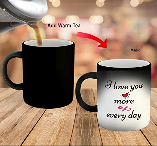 iKraft Love Quotes Printed Black Magic Coffee Mug- Black- 325ml Gift for Couple