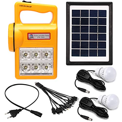 HITSAN INCORPORATION Portable Solar Panel Generator Kit Solar Powered System LED Light for Home Camping