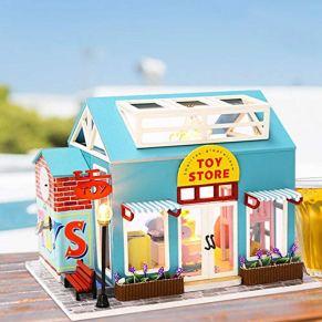 ZSLGOGO 3D House Dust Proof Toy Store Miniatura DIY Miniatura Kit de casa de muñecas en Miniatura con Movimiento…