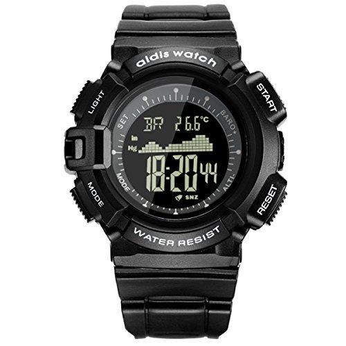 DFIHCD Outdoor-Sportuhren Bergsteigen Elevation Luftdruck Elektronische Uhr Multifunktional Männlich Student Wasserdicht Elektronisch Uhr,Black