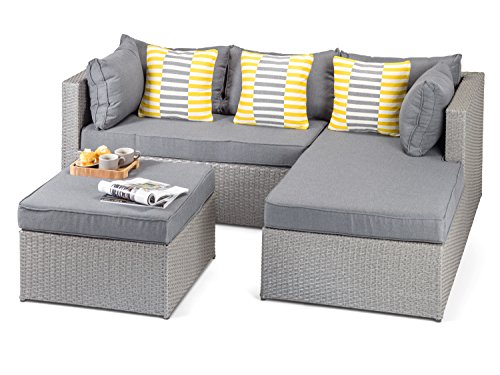 Calabria Right or Left Hand Outdoor Grey Rattan Sofa with Coffee Table and Footstool, 3 Seat Grey Rattan Wicker Garden Furniture - Fully Assembled
