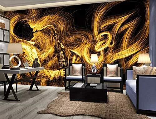 Fotomurali Carta Da Parati,Fotomurale 3D Astratto sassofono dorato musica jazz Murales 3D Soggiorno divano TV parete camera da letto-350cmx256cm