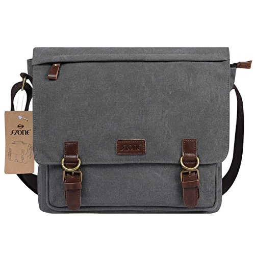 S-ZONE 15 Inches Laptop Men s Large Laptop Messenger Shoulder Bag Vintage Canvas  Briefcase Crossbody Day Bag Grey 48d04408446df