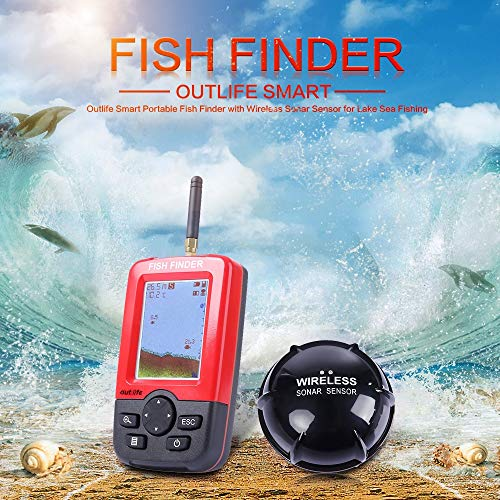 Oneriverspring40 Canna da Pesca Outlife Intelligente Fish Finder Portatile con Sonar Sensor Wireless Ecoscandaglio for Lago Sea Fishing Finders Senza Fili da Pesca (Color : Colormix)