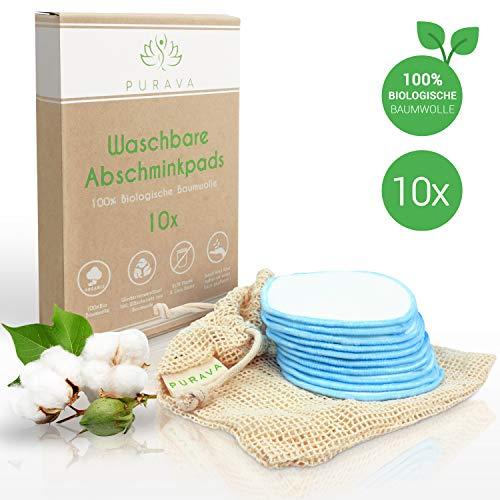 PURAVA® [10x] Abschminkpads waschbar - 100{86a83c4303900dcaf6e28812f084821ab7848a9fafe988d4223bef4ff0b52f53} Biologische Baumwolle - Zero Waste Alternative - Nachhaltige Reinigungspads wiederverwendbar -Idealer Make Up Entferner - INKL. Wäschenetz + Ebook