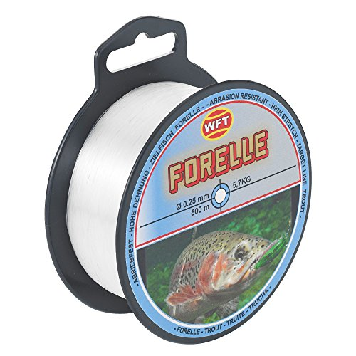 WFT Zielfisch Forelle 500m clear - Angelschnur zum Forellenangeln, Monofilschnur für Forellen, Forellenschnur zum Angeln, Schnur, Durchmesser/Tragkraft:0.25mm/5.7kg Tragkraft