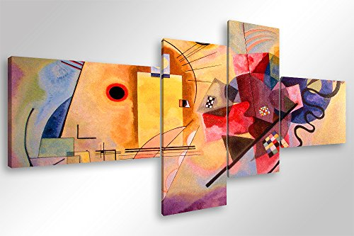 Quadro Moderno KANDINSKY YELLOW RED BLUE - cm 160x70 Stampa su Tela Canvas Arredamento Arte Arredo...