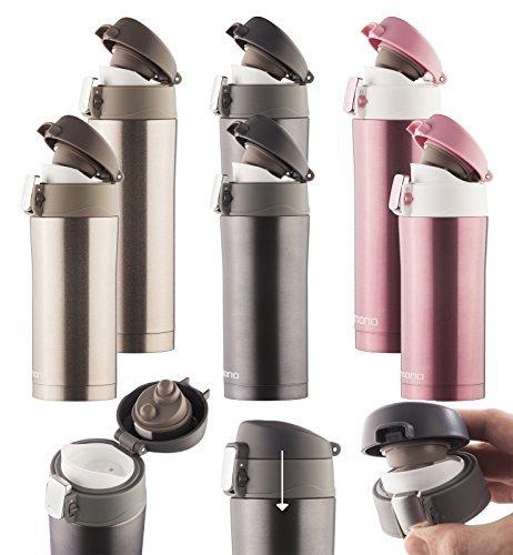 Dimono Thermosbecher aus Edelstahl Isobecher Thermostasse Thermobecher Isolierbecher Reisebecher Kaffeebecher - 500ml Schwarz-Metallic
