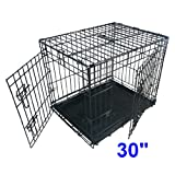Ellie-Bo Dog Puppy Cage Folding 2 Door Crate with Non-Chew Metal Tray, Black, Medium, 30 Inch