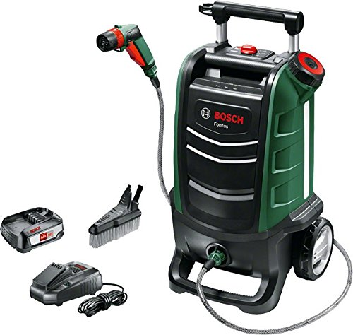 Bosch Fontus Cordless Outdoor Cleaner  (1 Battery, Maximum Pressure Bar, 15 Litre Water Tank, 18 V System, in Cardboard Box) - Powerful with a PSI of 15 bar, the 15-litre pressure washer will attend to both light to medium cleaning applications. The wheels and the extendable handle make moving the unit from one area to another a breeze.