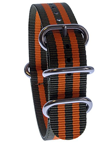Yves Unisson Camani 20 mm orologi-Cinturino Nylon nato-Band verde/arancione, nuovo
