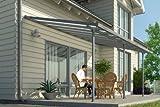 Hochwertige graue ALU Terrassenüberdachung / Veranda - 550 x 300 (BxT) / Überdachung Palram Feria...
