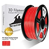 PLA Filament Red, 3D Hero PLA Filament 1.75mm,PLA 3D Printer Filament, Dimensional Accuracy +/- 0.02 mm, 2.2 LBS(1KG),1.75mm Filament, Bonus with 5M PCL Nozzle Cleaning Filament