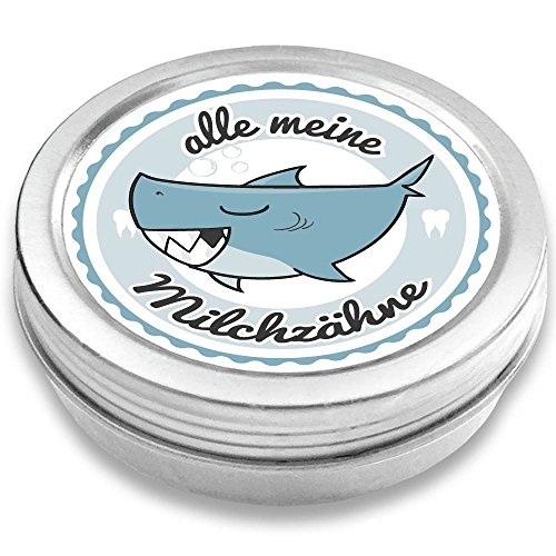 FANS & Friends Milchzahndose Jungen & Mädchen, Hai | mit Gratis e-Book | Geschenk Einschulung | Zahnbox für Milchzähne | Zahnfee Dose