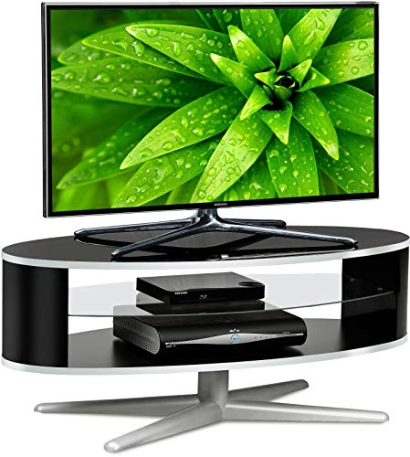 MDA Designs Orbit 1100BB - Mobile porta TV con lati ellittici neri lucidi per TV a schermo piatto...