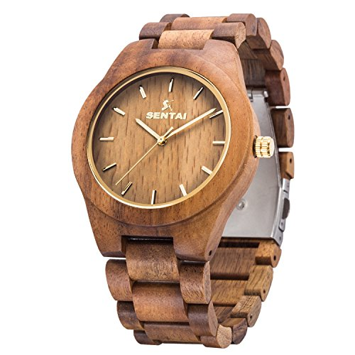 Orologio da uomo in legno, orologi al quarzo vintage fatti a mano, Sentai orologio da polso in legno...