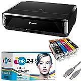Canon PIXMA IP7250 Tintenstrahldrucker schwarz USB Kabel & 5 komp. ink24 Druckerpatronen (Drucken per USB oder WLAN) - Originalpatronen ausdrücklich Nicht im Lieferumfang!