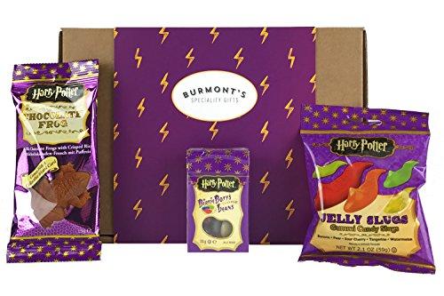 Harry Potter Scatola Con Selezione Di Dolcetti E Cioccolatini Americani - Chocolate Frog, Jelly Belly Bertie Bott's Beans & Jelly Slugs - Cesta In Esclusiva Per Burmont's