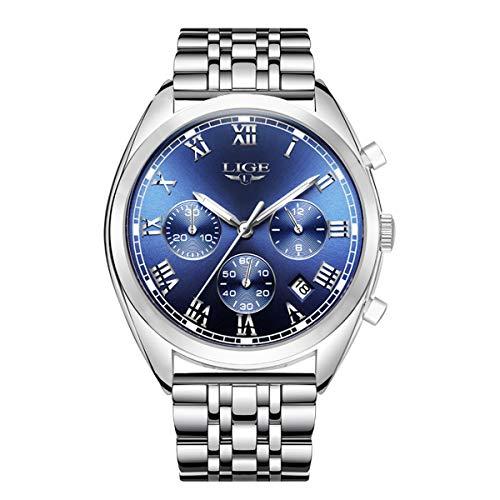 Orologio da polso da uomo cronografo, analogico, con quadrante blu, elegante e classico, cinturino...