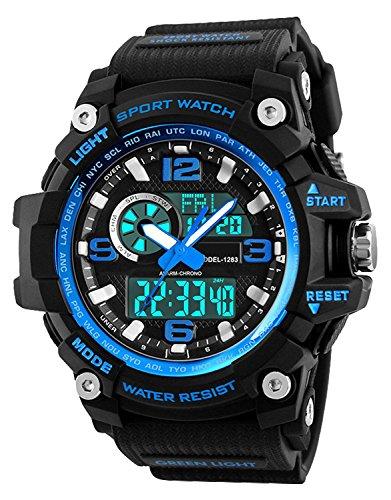 Orologio sportivo uomo, impermeabile digitale militare orologi con conto alla...