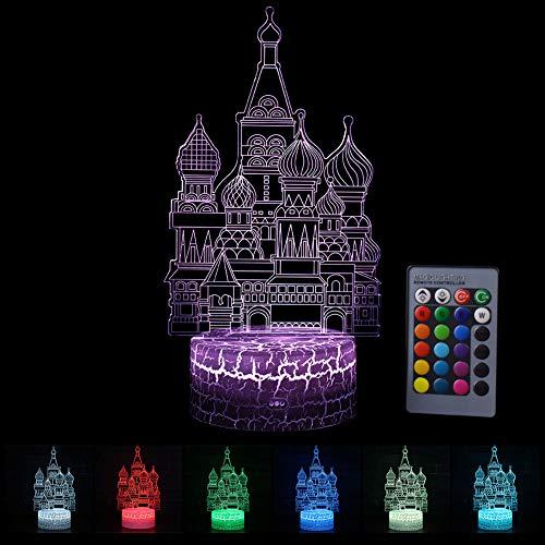 LED Nachtlicht 3D Illusion Lampe Kinder Stimmungslicht Fernbedienung Nachttischlampe 7 Farben ändern Touch Switch Schreibtisch Lampen Geburtstagsgeschenk Burg