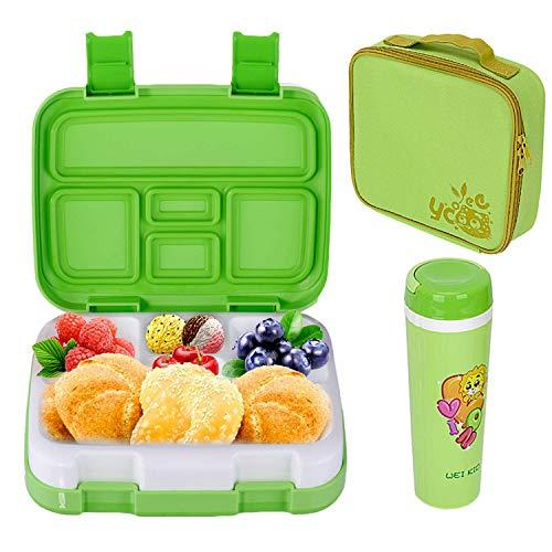 LAKIND Lunch Box, Porta Pranzo, Kids Bento Box con 5 Scomparti e Posate, Adatto a Microonde e...