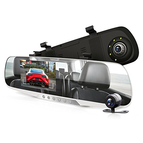 Pyle Fhd 1080P Dvr Dash Cam Kit - Dual Camera Rearview Mirror Video Recording System with Waterproof Backup Cam, 4.3 -Inch Display