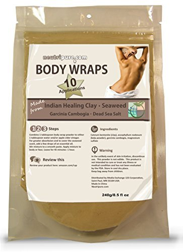 Neutripure Seaweed, Healing Clay, Garcinio Cambogia, and Dead Sea Salt DIY Slimming Body Wrap SPA Formula for Home Use