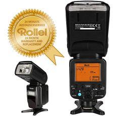 Rollei Pro Flash Unit 58F for Canon / Nikon - Flash inalámbrico profesional, funciona con pilas con TTL, Manual-, maestro / esclavo y el modo de luz estroboscópica - Número de Guía 58 - Negro