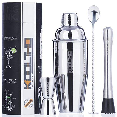 Set Cocktail Manhattan Shaker Professionale - Kit Barman Completo di Accessori per Cocktails e Aperitivo in Confezione Regalo Personalizzabile. Un Regalo di San Valentino Originale per Donna o Uomo