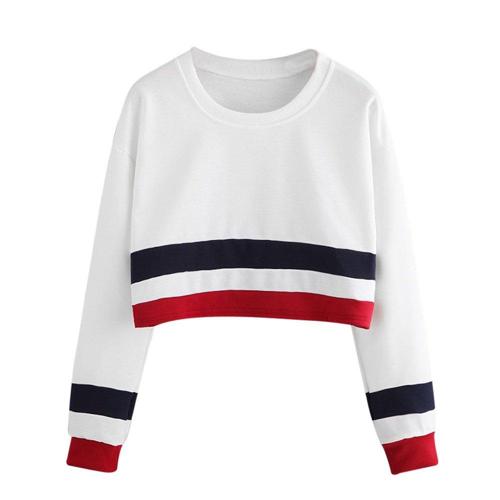 9642baf5c1ea0 Evansamp Teen Girls Women s Crop Tops Long Sleeve Round Neck Striped  Patchwork Short Pullover Sweatshirt T-Shirt Blouse. 🔍. £5.99 ...