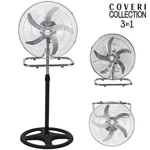 Bakaji Ventilatore 3in1 Piantana Da tavolo Parete in Metallo e Plastica 3 Velocita Regolabili...