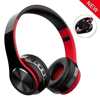 Auricular-Bluetooth-Inalmbrico-NickSea-Cascos-Bluetooth-Plegable-Cascos-de-Diadema-Estreo-HiFi-Cerrados-con-Micrfono-Manos-Libres-MicroSD-Orejeras-Suaves-para-iPhone-y-Android-Rojo
