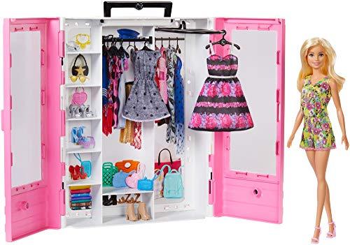 Barbie- Armadio Fashionistas Rosa con Accessori, Bambola Inclusa, Giocattolo per Bambini 3+ Anni,...