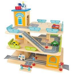 Leomark Garage In Legno Parcheggio a 3 Livelli Ascensore e Auto Per Elicotteri Stazione Garage 3 Pia