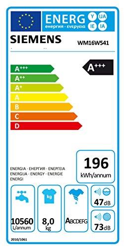 Siemens WM16W541 iQ700 Waschmaschine FL / A+++ / 196 kWh/Jahr / 1551 UpM / 8 kg / 10560 L/Jahr / Antiflecken-System / weiß - 2
